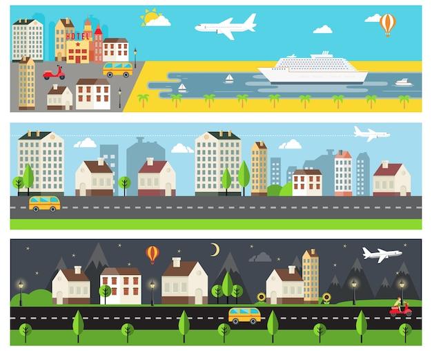 Cool vector cartooned embankment  rural and urban road Free Vector