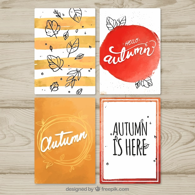 Cool watercolor autumn card collection