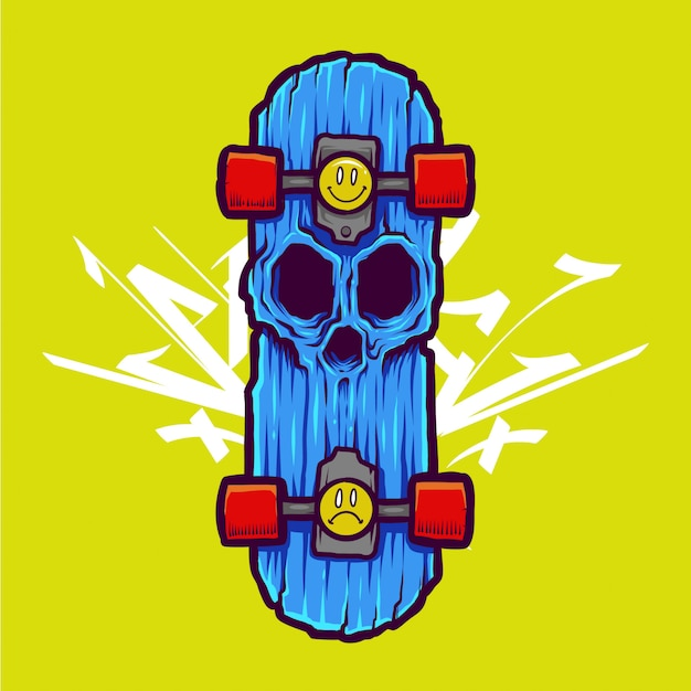 Cool zombie skull illustration and tshirt design Premium Vector
