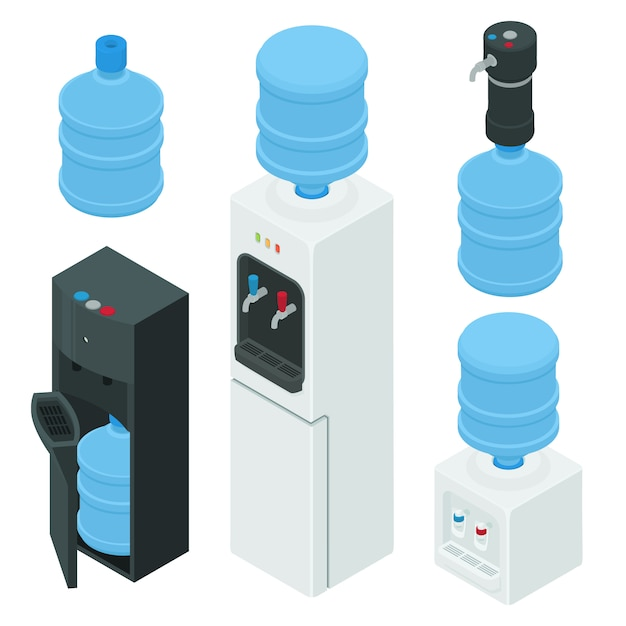 Cooler water icons set, isometric style Premium Vector