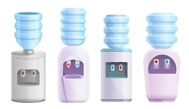 Cooler water set. cartoon set of cooler water Premium Vector
