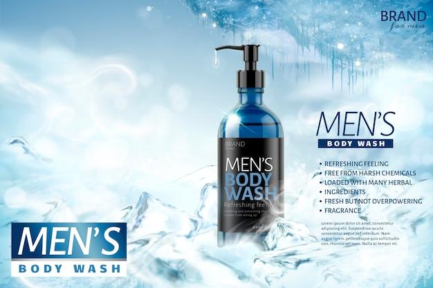 Cooling men's body wash  on frozen background Premium Vector