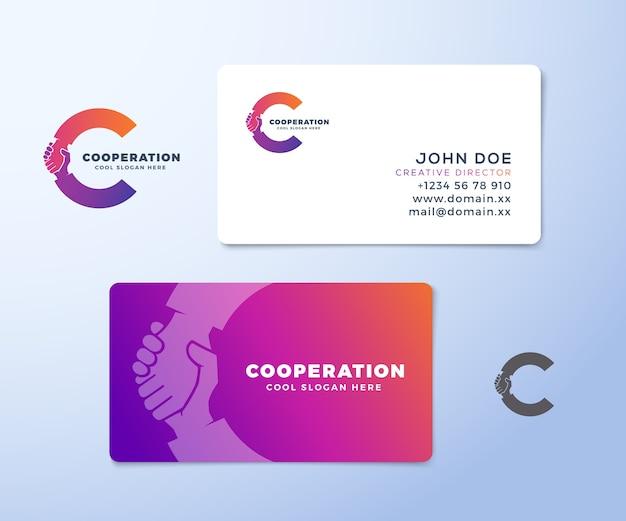 協力抽象的なロゴと名刺 Premiumベクター