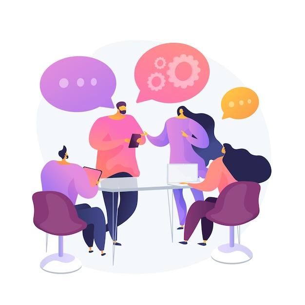 Сотрудничество и сотрудничество в работе. деловая встреча, брифинг сотрудников, совместная работа сотрудников. коллеги в конференц-зале обсуждают проект. векторная иллюстрация изолированных концепции метафоры Бесплатные векторы