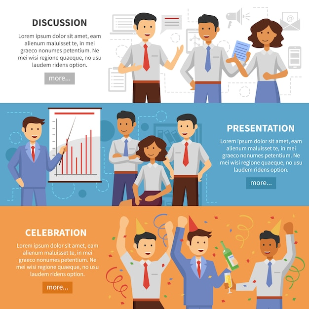 Cooperation banner set Free Vector