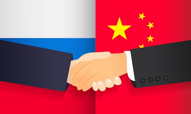 Cooperation between china and russia. Premium Vector