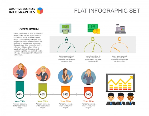 Cooperation percentage chart template for presentation Free Vector