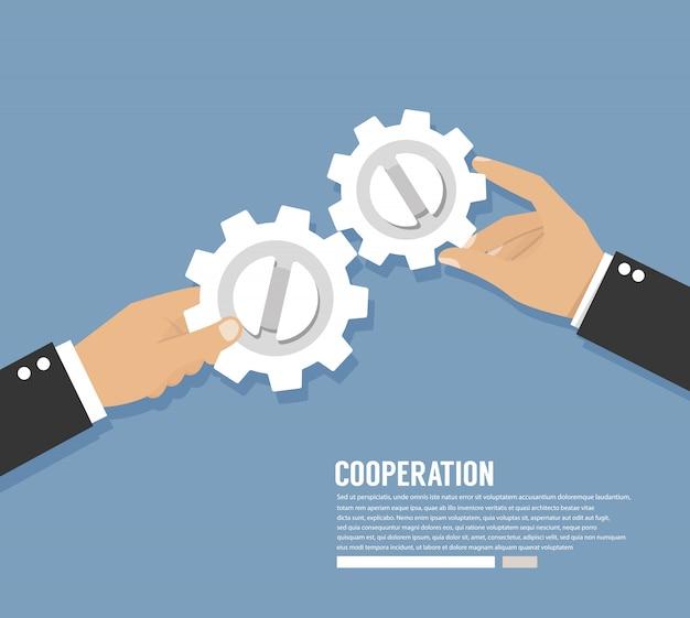 Cooperation work. hands with gears. teamwork concept Premium Vector
