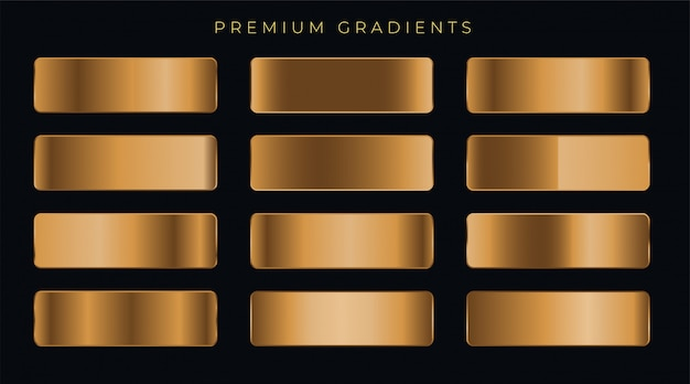 Copper metallic premium gradients set Free Vector