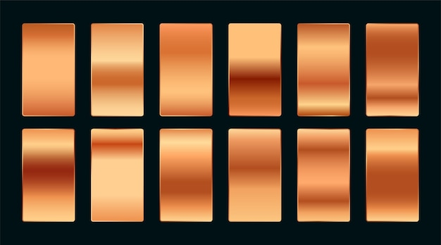 Copper or rose gold premium gradient swatches palette set Free Vector