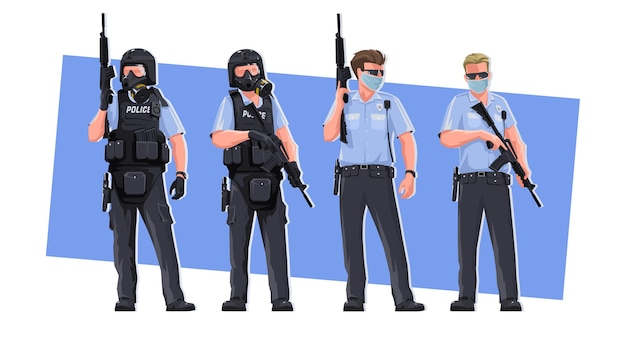 警官、さまざまなポーズで。特別な服を着た、武器を持ったスタイリッシュな究極の様式化されたキャラクター警官。法と秩序の擁護者。白い背景に。 Premiumベクター