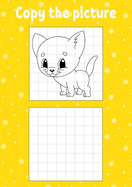 Copy the picture. cat animal. coloring book pages for kids. education developing worksheet. Premium Vector