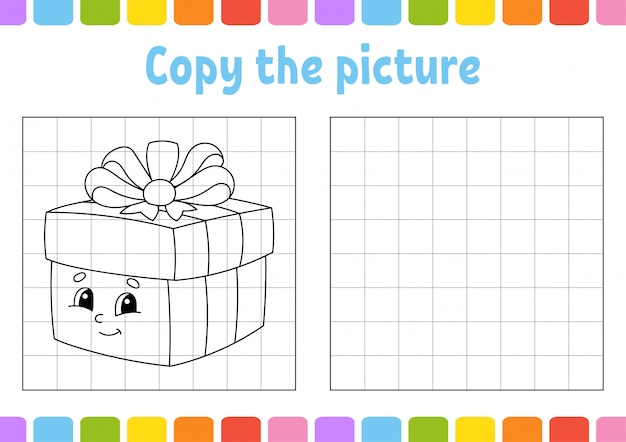 Copy the picture. coloring book pages for kids. Premium Vector