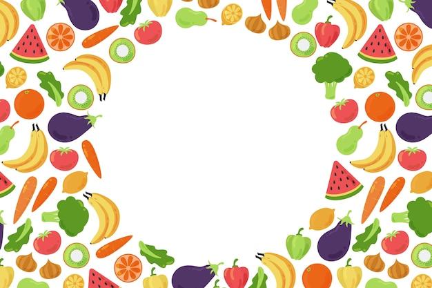 Копировать космический фон в окружении овощей и фруктов Бесплатные векторы