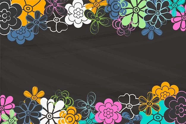Copy space blackboard with flowers Free Vector