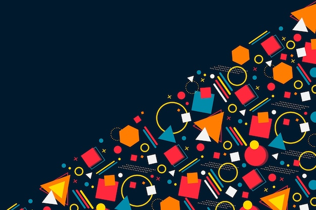 Copy space dark background and assortment of geometrical shapes Free Vector
