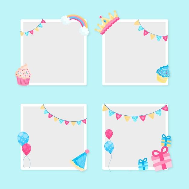 Copia spazio design piatto compleanno collage cornice Vettore gratuito