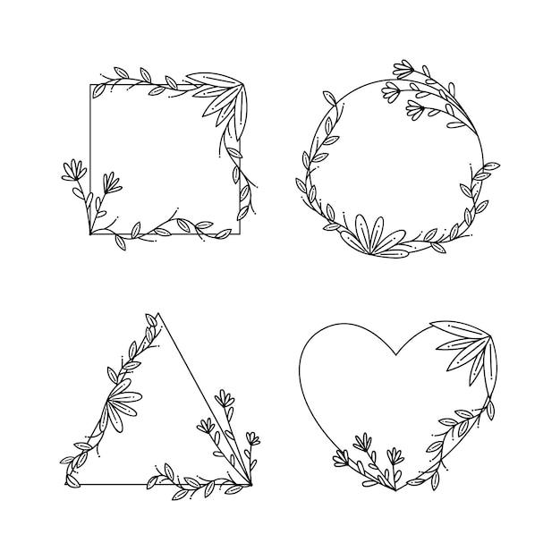 Copia spazio cornice floreale collezione disegnata a mano Vettore gratuito