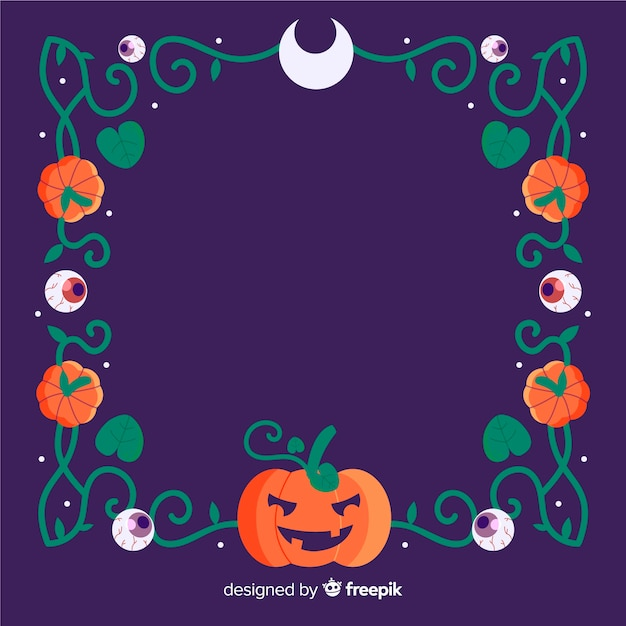 Copy space halloween frame with pumpkin and tribal lines Free Vector