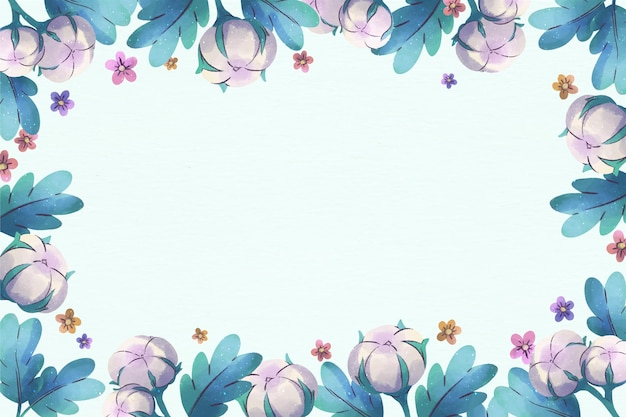 Copy space pastel blue floral background Free Vector