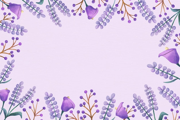 コピースペースパステルバイオレット花の背景 無料ベクター