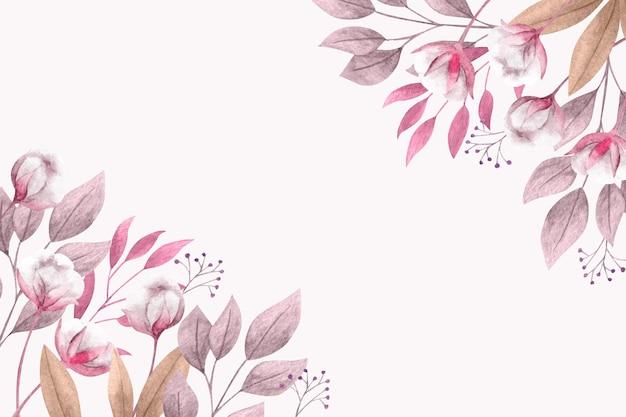 꽃과 잎 공간 봄 배경 복사 무료 벡터