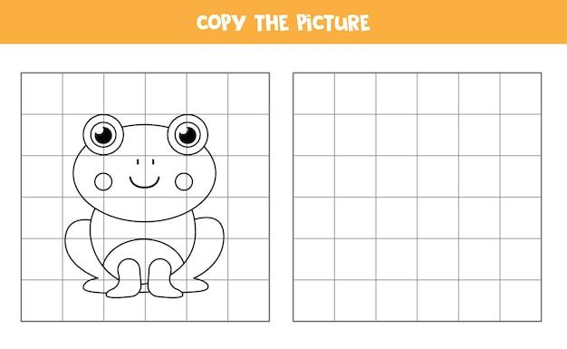 かわいい漫画のカエルの写真をコピーします。子供のための教育ゲーム。手書きの練習。 Premiumベクター