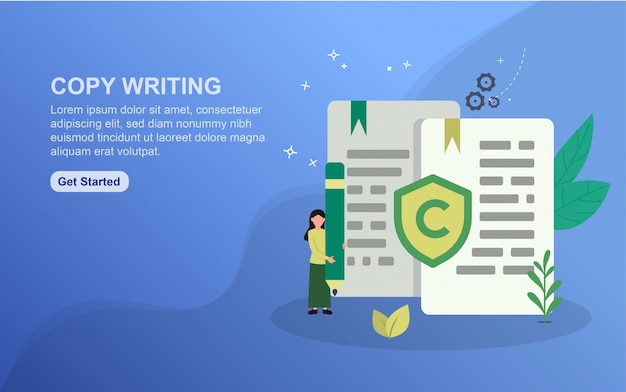 Copy writing landing page template. flat design concept of web page design for website. Premium Vector