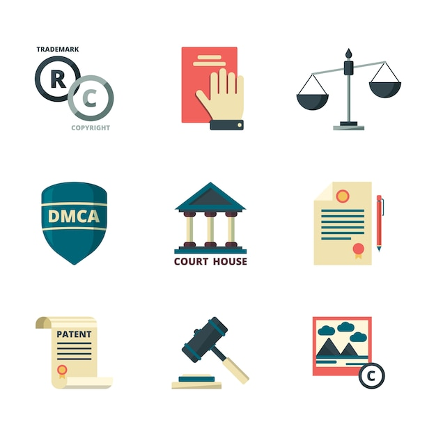Copyright icons. business company legal law quality administration policy regulations compliance  flat colored symbols Premium Vector