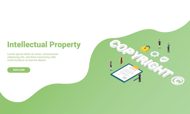 Copyright or intellectual property for website template landing homepage or banner with isometric style Premium Vector