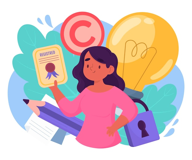 Copyright intellectual property Premium Vector