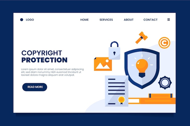 Copyright landing page with shield Premium Vector