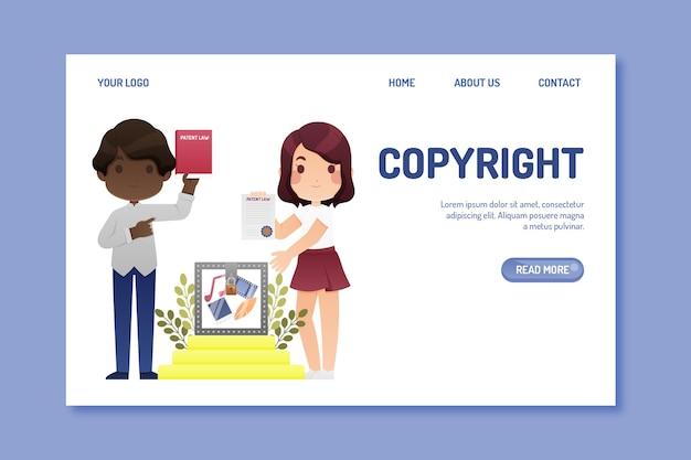 Pagina di destinazione del copyright Vettore gratuito