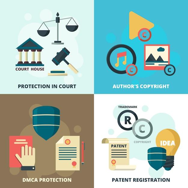 Copyright legal icons set Premium Vector