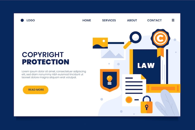Copyright protection landing page Premium Vector