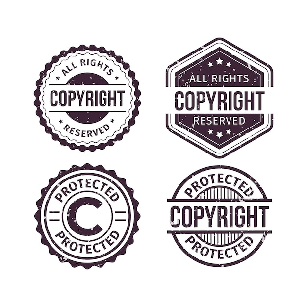 Copyright stamps collection Free Vector