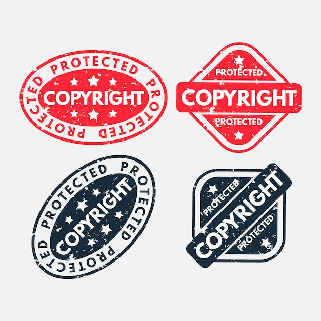Copyright stamps collection Premium Vector