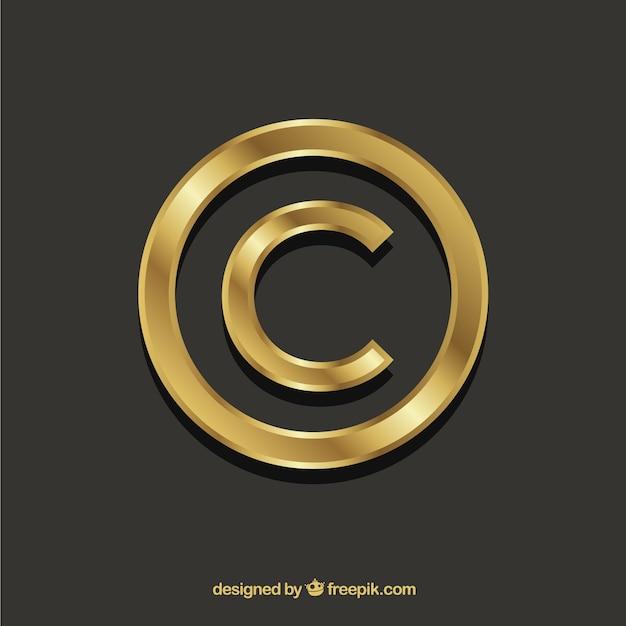 Copyright symbol in golden color Free Vector