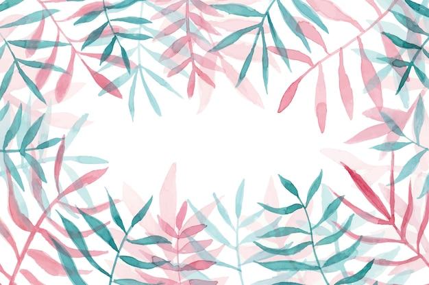 Copyspaceと美しい水彩画の葉のフレーム 無料ベクター