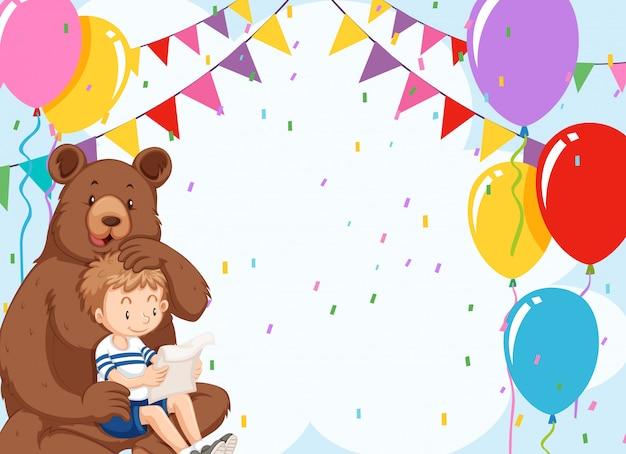 クマとcopyspaceの誕生日の少年 無料ベクター