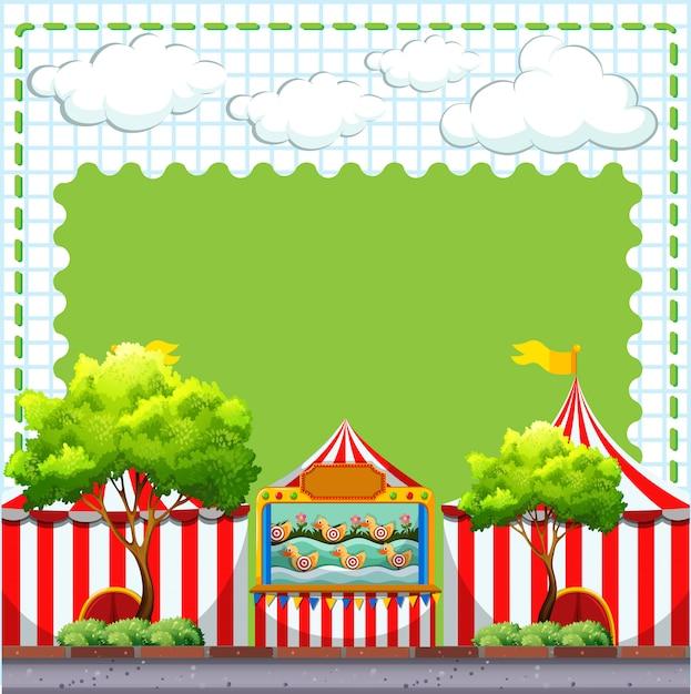 Граничный дизайн с игрой в цирке с copyspace Бесплатные векторы
