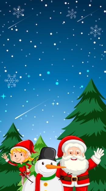 Веселая рождественская открытка фон с copyspace Бесплатные векторы