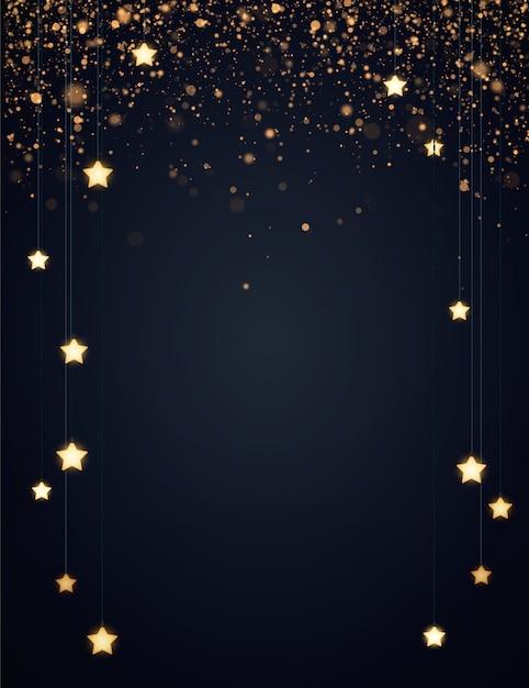 クリスマスの背景に黄色の輝く星、ゴールドラメまたは紙吹雪。 copyspaceと暗い背景。 Premiumベクター