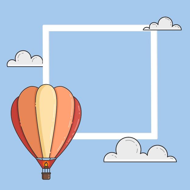 雲、フレーム、copyspaceと青い空に熱気球。フラットラインアートのベクトル図です。旅行会社、動機、事業開発、グリーティングカード、バナー、チラシの概念 Premiumベクター