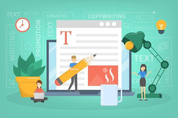 コピーライターのコンセプト。テキスト、創造性、プロモーションを書くアイデア。貴重なコンテンツを作成し、フリーランサーとして活動しています。インターネットでのテキスト投稿。図 Premiumベクター