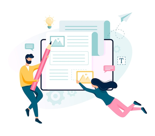 コピーライターのコンセプト。テキスト、創造性、プロモーションを書くアイデア。貴重なコンテンツを作成し、フリーランサーとして活動しています。図 Premiumベクター