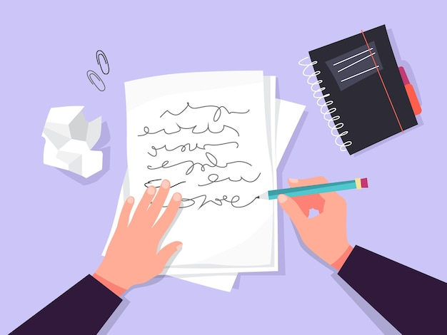 Copywriter concept. idea of writing texts, creativity Premium Vector