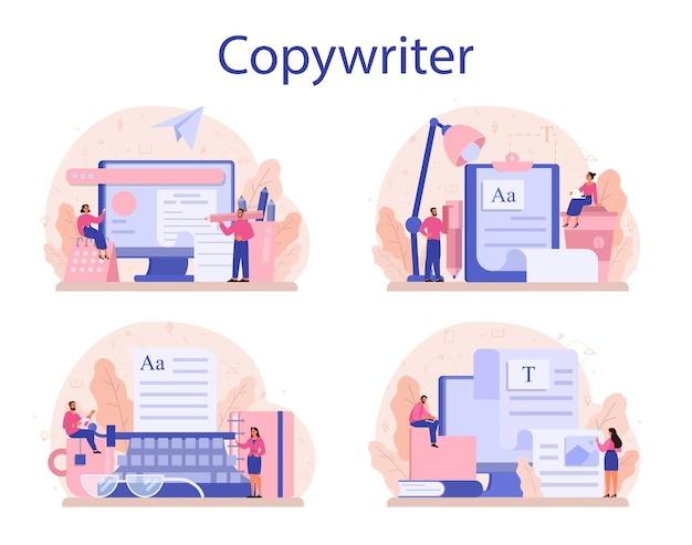 コピーライターコンセプトセット。テキスト、創造性、プロモーションを書くというアイデア。 Premiumベクター