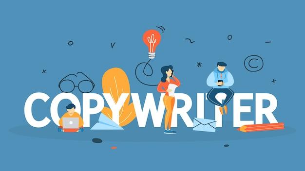 コピーライターのコンセプト。ブログでクリエイティブな記事を書いています。ソーシャルメディアプロモーション。フリーランスの仕事。図 Premiumベクター