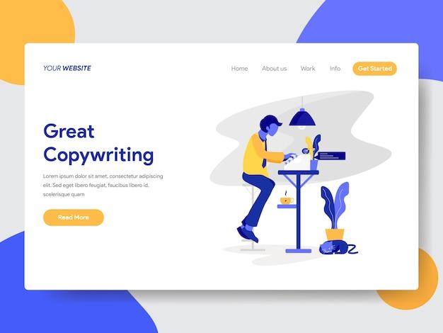 Copywriter illustration for web page Premium Vector